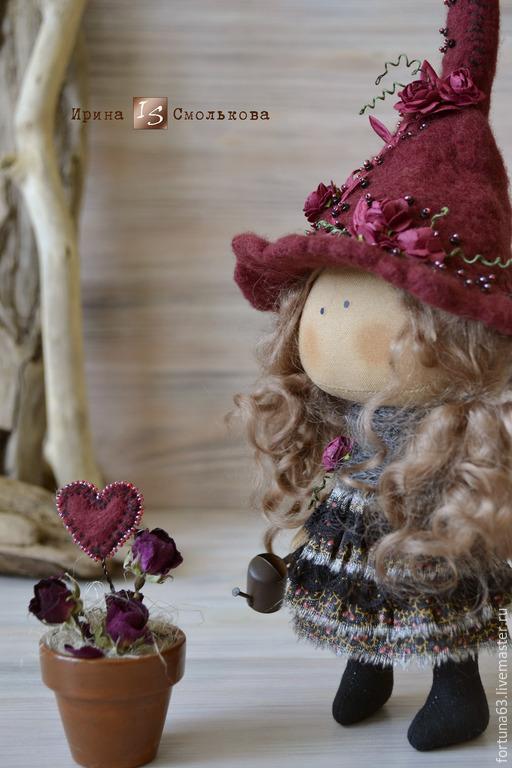 Коллекционные куклы ручной работы. Ярмарка Мастеров - ручная работа. Купить текстильная кукла ВЕДЬМОЧКА. Handmade. Бордовый, кукла коллекционная