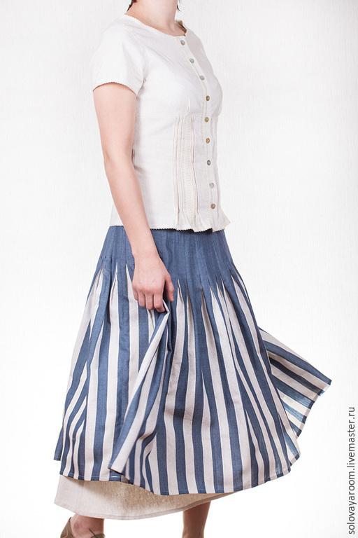 Юбки ручной работы. Ярмарка Мастеров - ручная работа. Купить Полосатая юбка бохо из дикого шелка. Handmade. Синий
