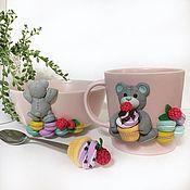 Посуда handmade. Livemaster - original item Children`s pink tableware set - mug, spoon and bowl, with Teddy bear. Handmade.