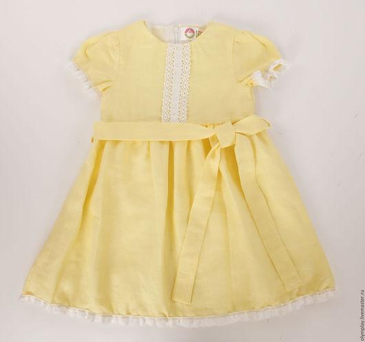 Одежда для девочек, ручной работы. Ярмарка Мастеров - ручная работа. Купить Льняное детское платье (200409). Handmade. Лимонный