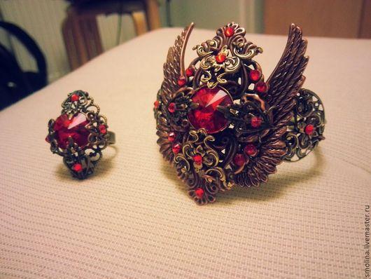 """Браслеты ручной работы. Ярмарка Мастеров - ручная работа. Купить Браслет и кольцо """"Огненная"""". Handmade. Ярко-красный, браслет стимпанк"""
