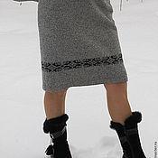 Одежда ручной работы. Ярмарка Мастеров - ручная работа юбка прямого силуэта с орнаментом. Handmade.