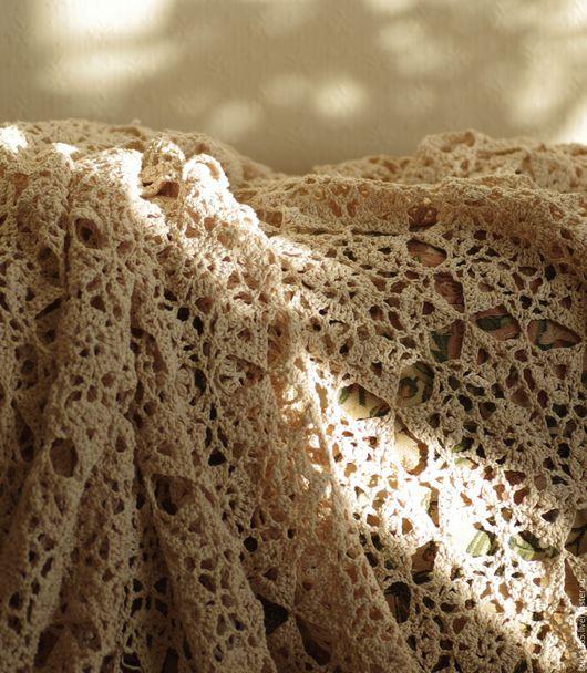 Текстиль, ковры ручной работы. Ярмарка Мастеров - ручная работа. Купить Покрывало ажурное. Handmade. Бежевый, покрывало на кровать