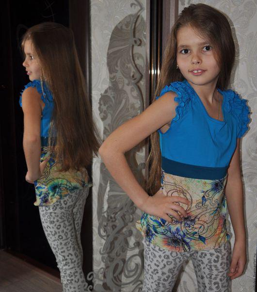 Одежда для девочек, ручной работы. Ярмарка Мастеров - ручная работа. Купить Футболка летняя. Handmade. Морская волна, футболка с рисунком