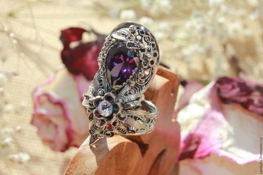 Кольца ручной работы. Ярмарка Мастеров - ручная работа. Купить Перстень «Белые ночи». Handmade. Фиолетовый, кольцо с камнем
