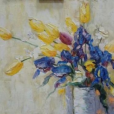 Картины и панно ручной работы. Ярмарка Мастеров - ручная работа Картина маслом букет цветов - ирисы, тюльпаны, ромашки (купить). Handmade.