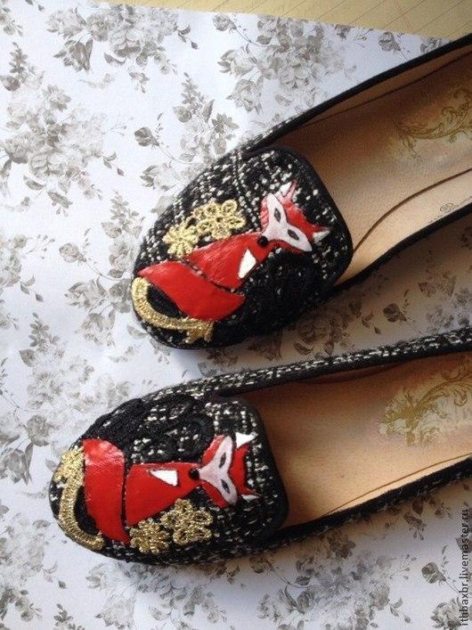 """Обувь ручной работы. Ярмарка Мастеров - ручная работа. Купить Слиперы""""Две лисы""""в стиле DG. Handmade. Озорной, обувь для улицы"""