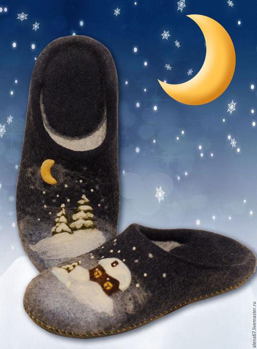 Обувь ручной работы.Купить нарядные валяные тапочки с рисунком. Ярмарка Мастеров - ручная работа. Handmade.