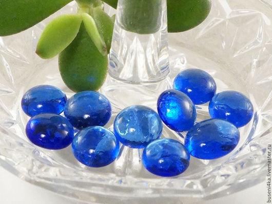 Для украшений ручной работы. Ярмарка Мастеров - ручная работа. Купить Стеклышки декоративные Синие 10-14мм (набор 10шт). Handmade.