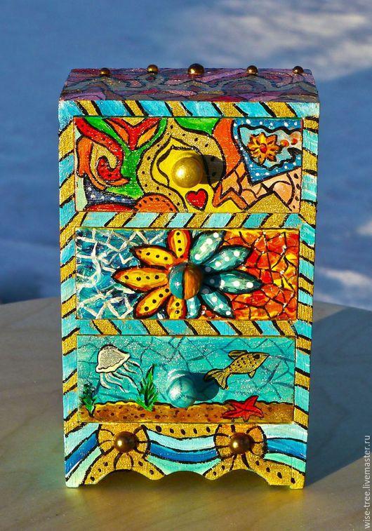 """Мини-комоды ручной работы. Ярмарка Мастеров - ручная работа. Купить Мини-комод """"Весь Мир в твоих руках"""" (дерево, роспись). Handmade."""