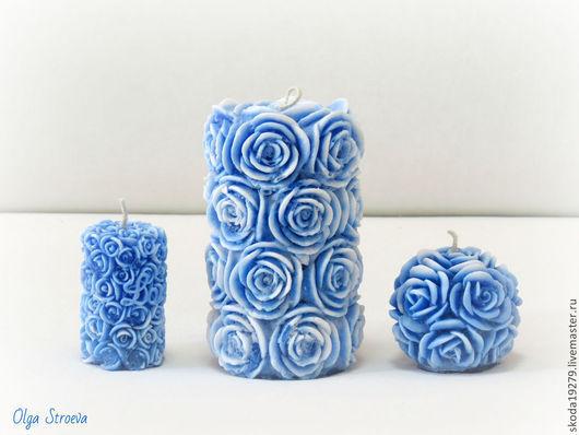 """Свечи ручной работы. Ярмарка Мастеров - ручная работа. Купить Набор свечей """"Розы под снегом"""". Handmade. Тёмно-синий"""