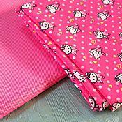 Материалы для творчества ручной работы. Ярмарка Мастеров - ручная работа Плащевая ткань Китти на красно-розовом. Handmade.