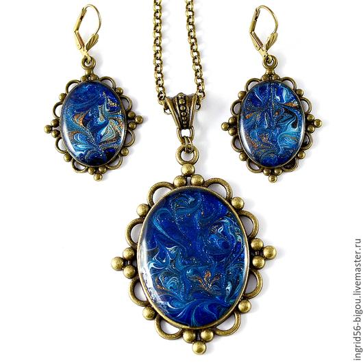 Комплект украшений с авторской росписью, авторский комплект украшений, комплект украшений из металла, синий комплект, синие украшений,глубокое синее море украшения комплект,синий
