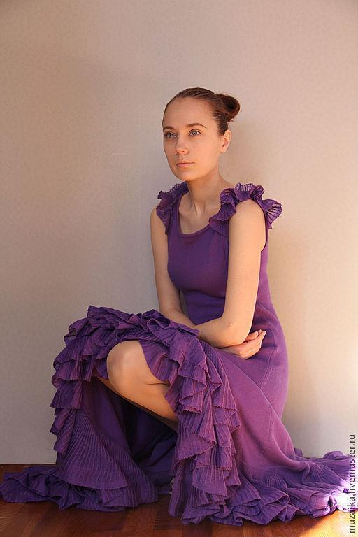 Платья ручной работы. Ярмарка Мастеров - ручная работа. Купить Платье вязаное фиолетовое. Handmade. Однотонный, трикотажное платье