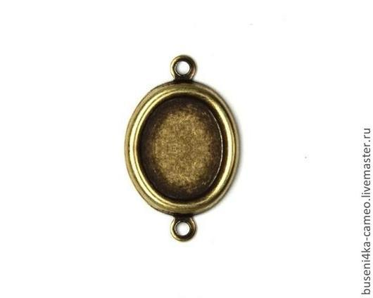Для украшений ручной работы. Ярмарка Мастеров - ручная работа. Купить Оправа-коннектор Гладкая 8х10мм, античная бронза (1шт). Handmade.