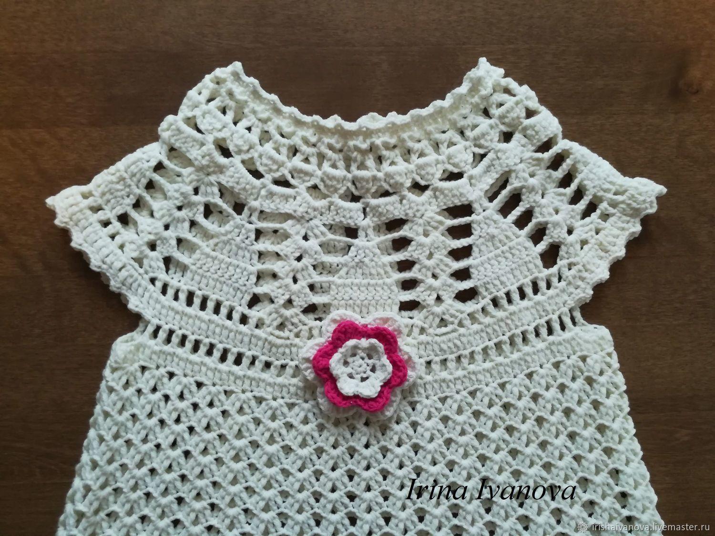 Вязаное летнее платье Белая Сирень для девочки 7 - 9 лет крючком