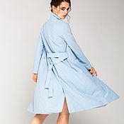 Одежда ручной работы. Ярмарка Мастеров - ручная работа Плащ Женский Тренч Голубой Light Blue Long Raincoat. Handmade.