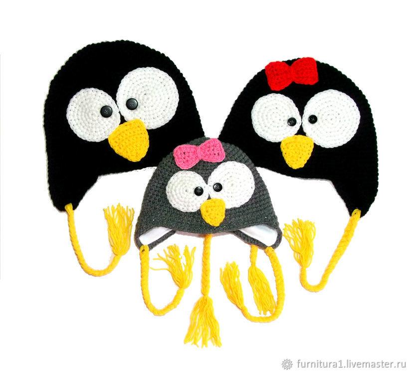 Одежда шапка пингвин для девочки теплая вязаная зимняя  черная, Одежда, Москва,  Фото №1