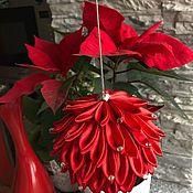 Сувениры и подарки handmade. Livemaster - original item Christmas toy handmade BALL made of satin ribbons. Handmade.