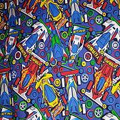 Ткани ручной работы. Ярмарка Мастеров - ручная работа Ткани: Футер Гоночные машины. Handmade.