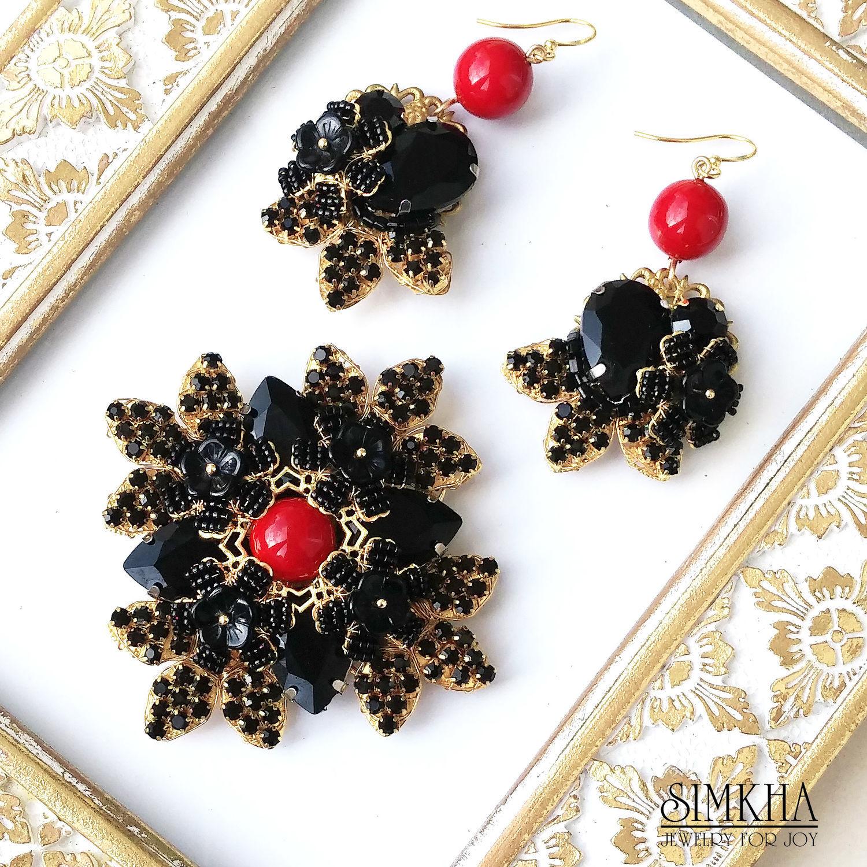 Brooch and earrings 'Black Queen', Jewelry Sets, Netanya,  Фото №1