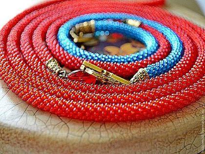 Колье, бусы ручной работы. Ярмарка Мастеров - ручная работа Бусы бисерные Лед и пламень. Handmade.