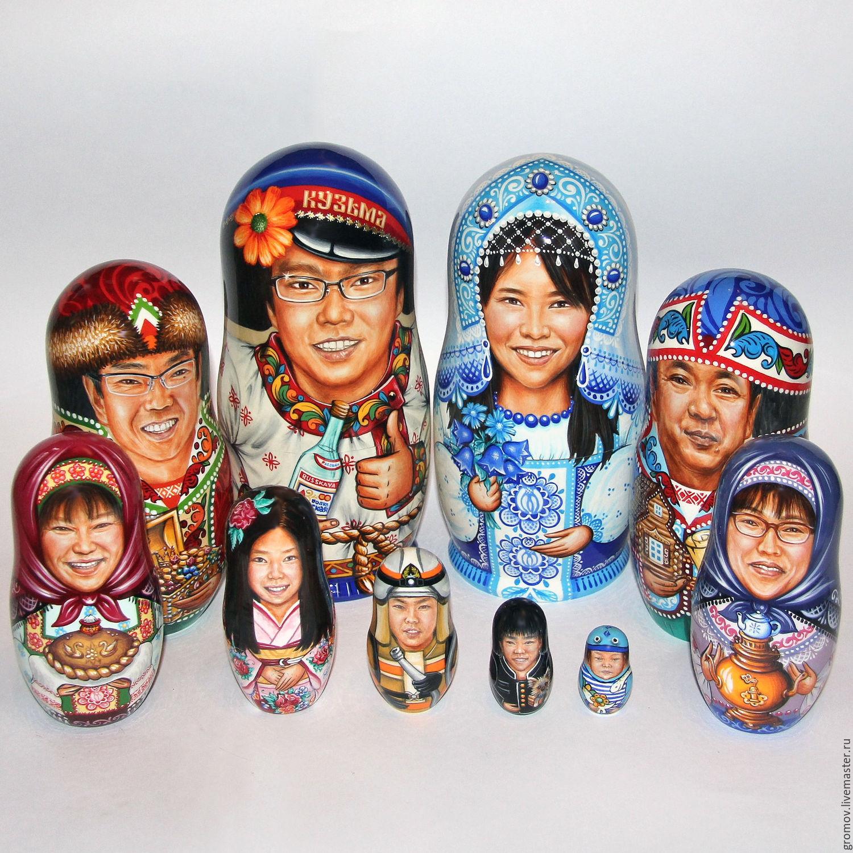 портретная матрёшка `Японская семья`