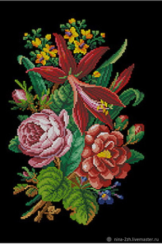 The scheme for embroidery: Bouquet with sprekelia, Patterns for embroidery, Penza,  Фото №1