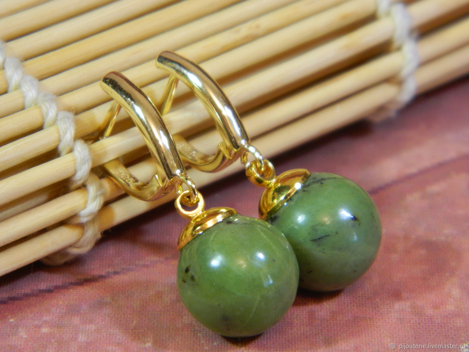 Earrings with Jadeite, natural stone, Earrings, Saratov,  Фото №1