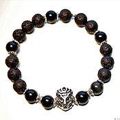 Украшения handmade. Livemaster - original item Men`s bracelet made of lava and obsidian