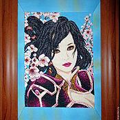 """Картины и панно ручной работы. Ярмарка Мастеров - ручная работа Вышитая картина """"Китаянка"""". Handmade."""