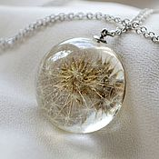 Украшения handmade. Livemaster - original item Round semi-sphere pendant made of jewelry resin with a real dandelion. Handmade.