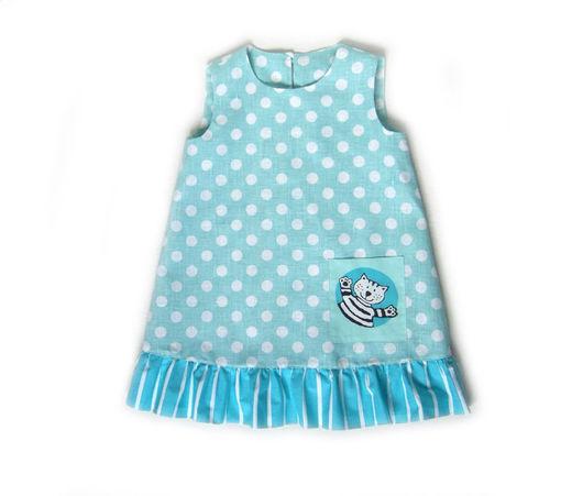 Платье для девочки, платье из льна и хлопка_рост 110 см _Bumberiny