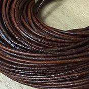 Шнуры ручной работы. Ярмарка Мастеров - ручная работа Шнур кожаный, коричневый , 2 мм. Handmade.