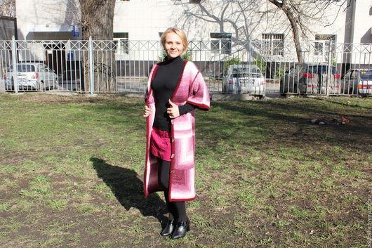 """Пиджаки, жакеты ручной работы. Ярмарка Мастеров - ручная работа. Купить Кардиган удлинённый """"Мозаика"""". Handmade. Розовый, спицами"""