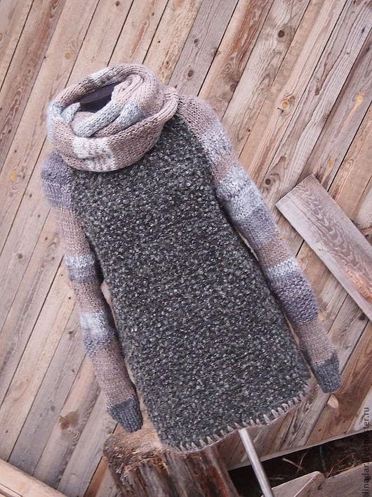 """Кофты и свитера ручной работы. Ярмарка Мастеров - ручная работа. Купить Свитер и съёмный шарф-хомут""""Тепло и брутально"""".Унисекс.. Handmade."""