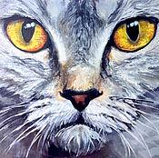 Картины и панно ручной работы. Ярмарка Мастеров - ручная работа Взгляд кошки. Живопись на холсте.. Handmade.