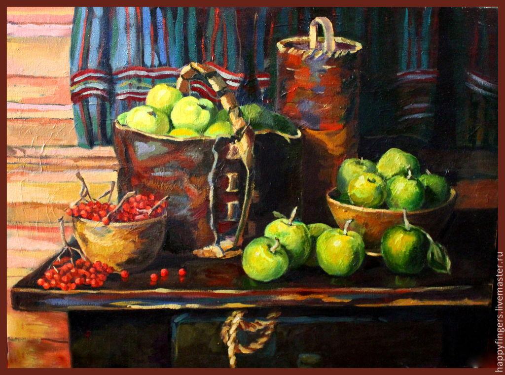 """Натюрморт ручной работы. Ярмарка Мастеров - ручная работа. Купить Картина маслом """"Яблоки"""", копия. Handmade. Живопись, натюрморт"""