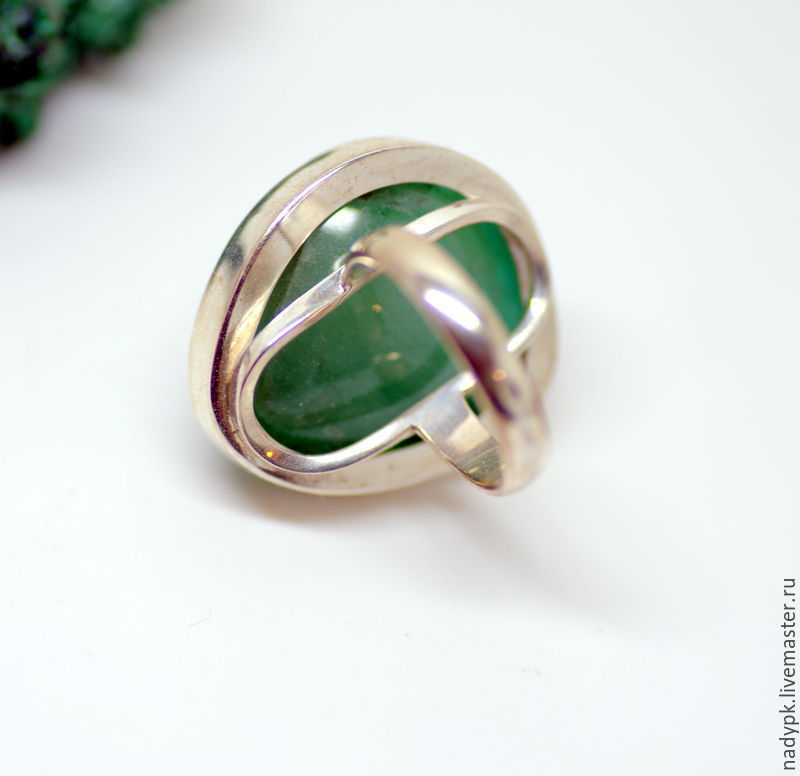 A ring with a beryl Green, silver – shop online on Livemaster with ...