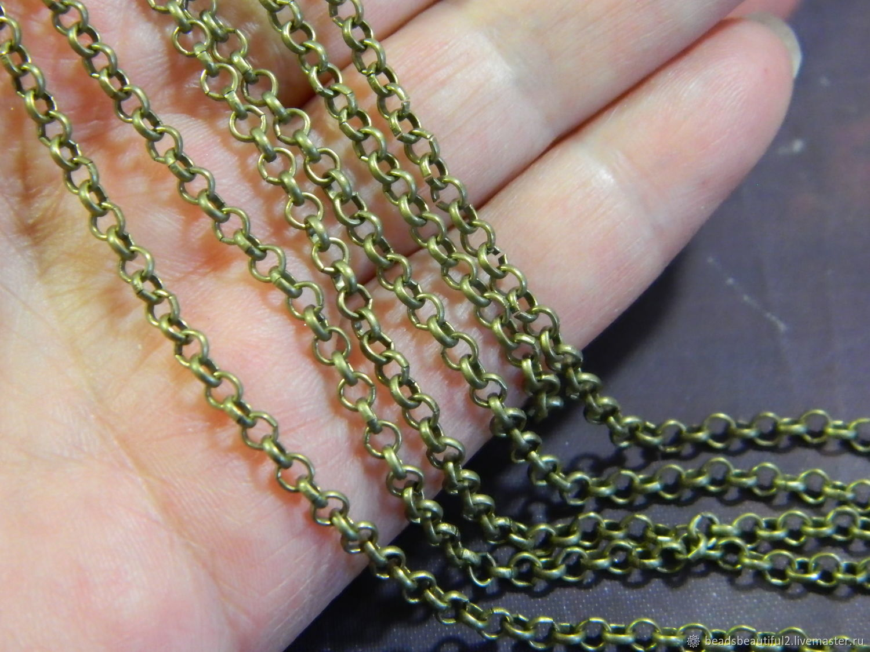 Цепь роло бронза отличное качество 3х3 мм. 1 метр, Цепочки, Саратов,  Фото №1