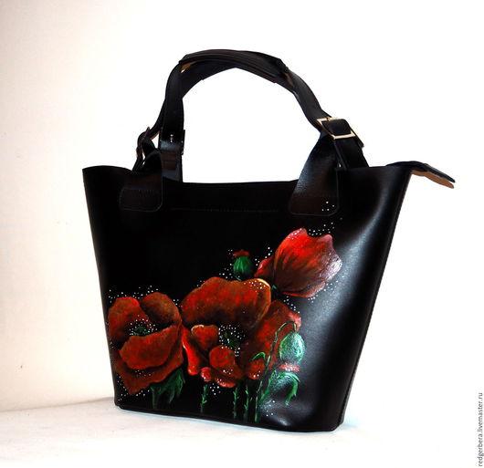 """Женские сумки ручной работы. Ярмарка Мастеров - ручная работа. Купить Кожаная сумка """"Минимализм"""" с красными маками. Handmade."""