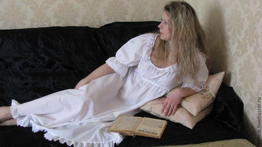 """Белье ручной работы. Ярмарка Мастеров - ручная работа. Купить Ночная сорочка из батиста с батистовым шитьем """"Великолепная..."""". Handmade."""