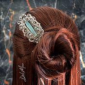 Украшения handmade. Livemaster - original item Hairpin with aquahalcedon stone
