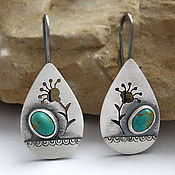 Украшения handmade. Livemaster - original item Earrings silver with turquoise (silver 925, NAT. turquoise). Handmade.