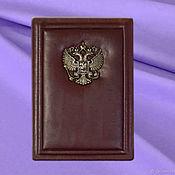 """Канцелярские товары handmade. Livemaster - original item Обложка на автодокументы """"Ваша благородие"""", коричневая кожа. Handmade."""