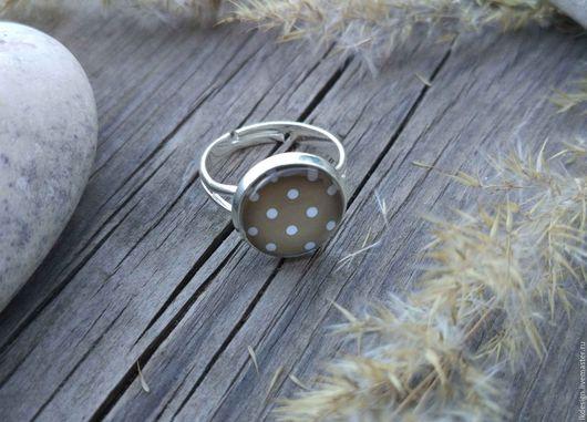 Кольца ручной работы. Ярмарка Мастеров - ручная работа. Купить Кольцо посеребренное Горошек. Handmade. Бежевый, винтажный стиль, посеребрение