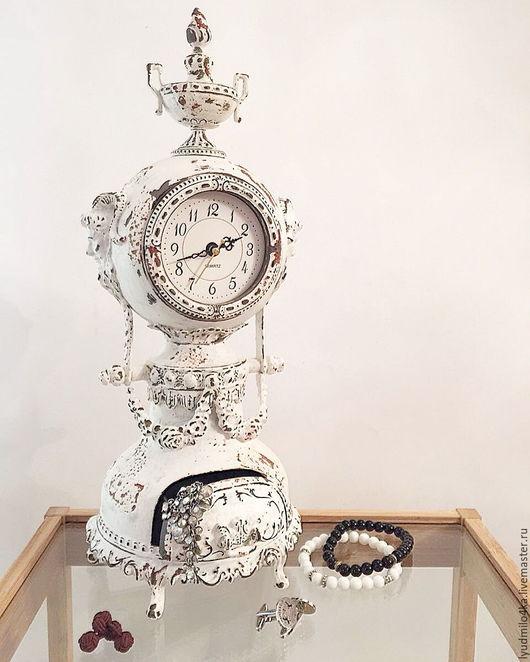 Часы для дома ручной работы. Ярмарка Мастеров - ручная работа. Купить Музыкальные часы со шкатулкой, состаренные вручную. Handmade.