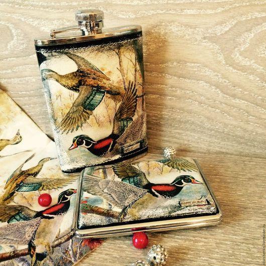Подарки для мужчин, ручной работы. Ярмарка Мастеров - ручная работа. Купить Для любимого охотника. Handmade. Декупаж, охотник, птицы