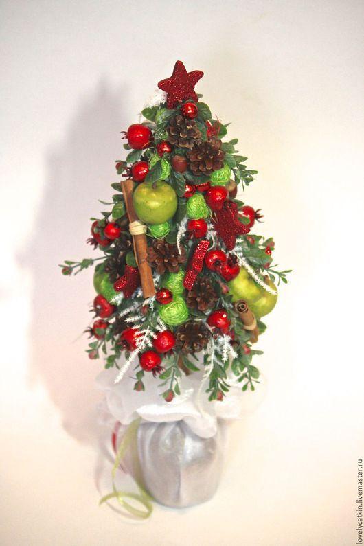 Новый год 2017 ручной работы. Ярмарка Мастеров - ручная работа. Купить декоративная елочка. Handmade. Разноцветный, новогодний интерьер, яблоки