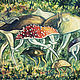 """Фантазийные сюжеты ручной работы. Ярмарка Мастеров - ручная работа. Купить Картина """"Грибной поход"""". Handmade. Грибы, гриб"""